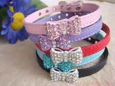 "1 x Bling dog cat puppy bowknot rhinestone pets gift bow 5 color collar 6""/8"" XS"