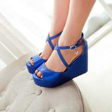 2016 Bright color royal blue platform wedge heel strappy cross peeptoe sandals