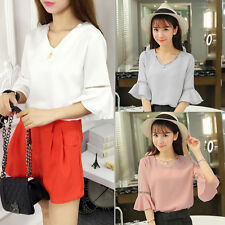 Women Lady V-neck Casual T-shirt Falbala Sleeve Chiffon W/ Pearl Tops Blouses