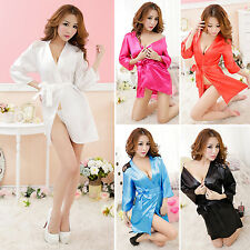 Sexy Lady Satin Lingerie Sleepwear Nightwear Lace Robe Gown Babydoll   G-string