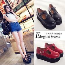 2016 Womens T-Strap Platform Mary Janes Creepers Chunky Heels Round Toe Shoes 66