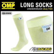 IAA/723 OMP KNITTED NOMEX RACING FIREPROOF CALF LENGTH SOCKS CREAM - 4 SIZES OMP