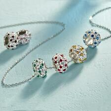 925 Sterling Silver Birthstone Bead Crystal CZ Stone Pendant Necklace Chain E4I5