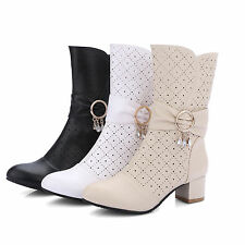 Women's Synthetic Leather Shoes Med Heels Zip Up Mid Calf Boots AU All Size b267