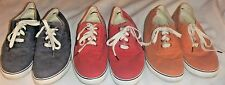 "L.L. BEAN Womens ""Sunwashed Canvas"" Boat Shoes~Size11~Red,Blue or Orange-EUC"
