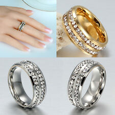 Size 8-10 Men/Women's Vogue Stainless Steel Rhinestone Ring Band Couple Gift