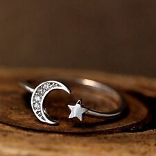 Retro Silver/Bronze Knuckle Rings Sister Crescent Lucky Star Moon Women's Ring