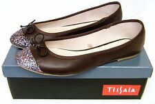 WOMENS Brown Low Heel Glitter Slip On Comfy Work Shoes Dolly Ballerina PUMPS
