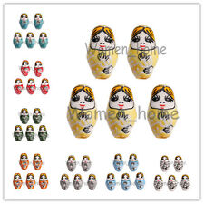 22x13mm 10pcs Hand Painted Porcelain Russian Nesting Doll Loose Spacer Beads
