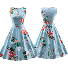 Womens Crew Neck Vintage Style Retro Floral 50s 60s Party Rockabilly Swing Dress