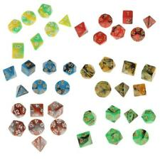 7pcs Multi Sided Dice D4 D6 D8 D10 D12 D20 Dungeons D&D TRPG Warhammer 6 Colors