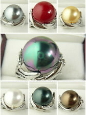 7Colors 14mm South Sea Round Shell Pearl Gemstone Jewelry Ring Size 6 -11 AAA+
