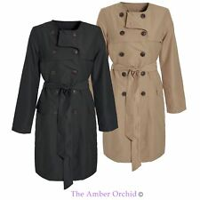 Womens Ladies Trench Mac Jacket Microfibre Double Breasted Tie Belted Coat
