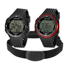 Sport Pulse Heart Rate Monitor Watch &Chest Strap Pedometer Calorie Counter O1J0