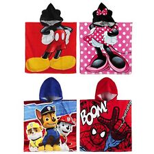 Childrens Character Cotton Poncho Hooded Beach Towel for Boys & Girls 120 x 60cm
