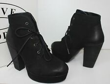 Steve Madden Raspy black nubuck leather lace up platform boots ankle booties NEW