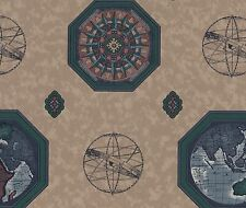 Study Global Library Travel Compass Tan Faux Texture Double Roll Wall Wallpaper