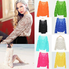 Vogue Women Long Sleeve Embroidery Lace Summer Beach Sunscreen Coat Tops Blouse