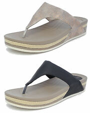 Womens Ladies Leather Look Toe Post Comfort Flip Flops Mules Sandals Black Gold