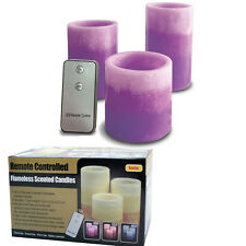 3PC SCENTED CANDLE SET FRAGRANCE LED REMOTE CONTROL REAL WAX PILLAR FLAMELESS