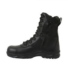 "Security Guard Officer Side Zipper Black Leather Patrol Duty 8"" Tactical Boots"