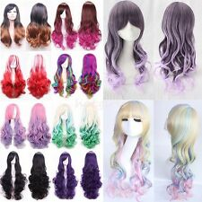 Pink Mix Purple Wig Long Wavy Curly Ombre Hair Women Cosplay Full Wigs Party #Ms