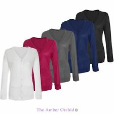 Womens Ladies Boyfriend Cardigan Button Up Long Sleeve Pocket Cardi Top