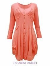 Ladies Womens Italian Lagenlook Boho Dress Stretch Buttoned Up Frill Top