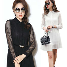 Fashion Korean Womens Wear To Work Party Chiffon Lace Hollow Pleated Tunic Dress