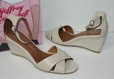 Jeffrey Campbell Trudeau beige natural leather mid-wedge shoes NEW