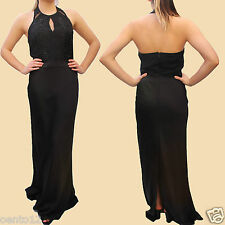 Next Premium Black Halterneck Embellished Lace Top Long Maxi Evening Dress Gown