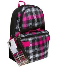 "17"" School BACKPACK + Clip-on LUNCH BOX +Pencil Case SET Girls-Boys Kit Book Bag"
