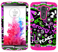 Retro Peace Groovy Pink Green Black Shock Resistant Case Cover for LG Optimus G3