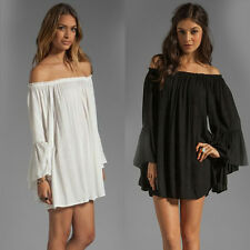 Trendy Women Lady's Strapless Loose Off-Shoulder Pleated Chiffon Knee Dress Gift