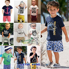 2PCS Outfits Baby Kids Boys Short Sleeve Tops T Shirt + Shorts Pants Clothes Set
