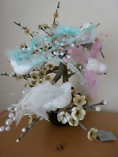 Gisela Graham Sequin,Glitter Feather and Pearl Clip on Bird 15cms  (3 colours)