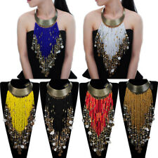Vintage Jewelry Chain Resin Seed Beads Tassels Statement Pendant Bib Necklace