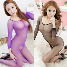 Sexy Fishnet Bodystocking Bodysuit Lingerie Babydoll garters Underwear dress EA