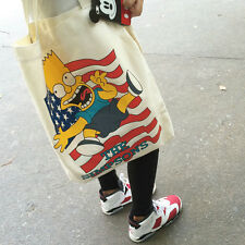 Cotton Canvas Shoulder Bag Shopping Carrying Tote Print Simpsons Flag A132 G