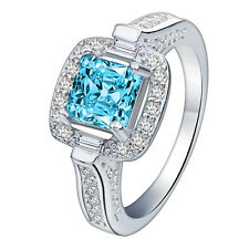 Womens White Gold Filled Princess Cut Blue Stone CZ Crystal Zircon Ladys Ring