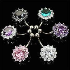 1x Flower Steel Zircon Crystal Navel Belly Ring Button Bar Body Piercing Jewelry