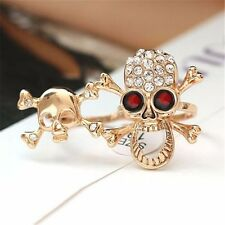 Fashion Typical Gothic/Punk Gold/Silver Crystal Skull Two Finger Double Ring WS
