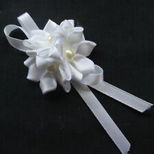 10/50PCS White Satin Ribbon Roses Flowers Bows Appliques Wedding Craft Deco