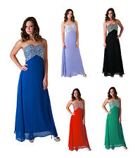 Formal Prom Dress Beaded Crystal Bridesmaid Wedding Party Long Evening Ball Gown