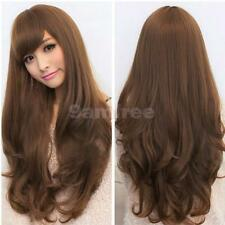Fashion Womens Long Curly Wavy Full Wigs w/ Side Bangs Party Hair Cosplay Lolita