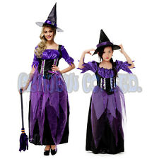 Adult Kids Women girls purple witch Fancy Dress Cosplay Costume Halloween Outfit