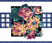 Blue Golden Yellow Rose Mulberry Purple Red Violet Vintage Wallpaper Wall Border
