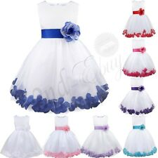 Girl Flowers Dress Petal Sleeveless Wedding Formal Kid Dress Princess Bridesmaid