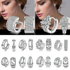 Women's Fashion Crystal Rhinestone Silver Plated Ear Stud Dangle Hoop Earrings