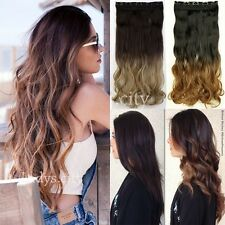 Women Full Head Clip in Hair Extensions Ombre Dip Dye One Pcs as human hair lft